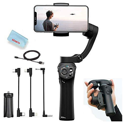 Snoppa Atom 3-Asse Pieghevole Gimbal Stabilizzatore per Smartphone iPhone Xs Max Xr X 8 Plus Samsung S9+ S9 Action Camera GoPro Hero 7/6,Pocket-Sized,Carica wireless,24H Runtime,310g di carico utile