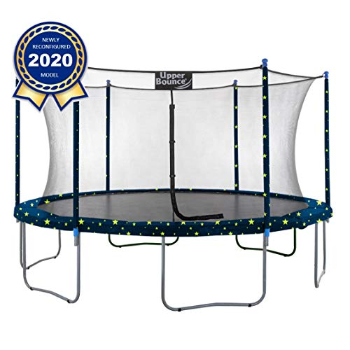 Image of Upper Bounce 12 FT Round Trampoline Set with Safety Enclosure System - Blue