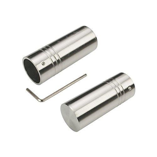 Liedeco Endstück, Endknopf 25 mm Zylinder | Edelstahl-Optik | 1 Stück