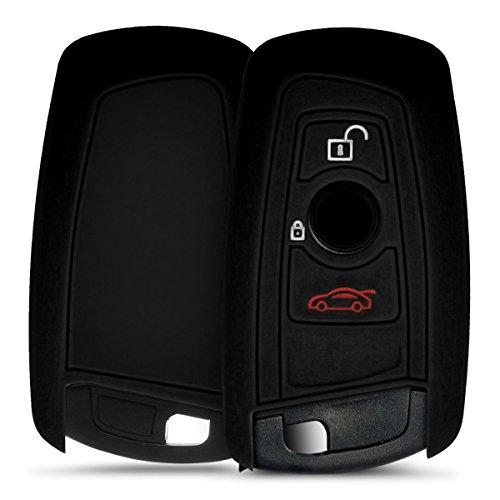 kwmobile Accessoire clé de Voiture Compatible avec BMW (Keyless Go Uniquement) 3-Bouton - Coque en Silicone Souple pour Clef de Voiture Noir