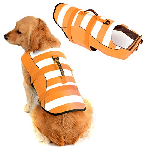 "High Visibility Dog Life Jacket Safety Vests for Swimming, Superior Buoyancy & Rescue Handle (XXL (Chest Girth: 29.1""-38.6""), Lively Orange)"