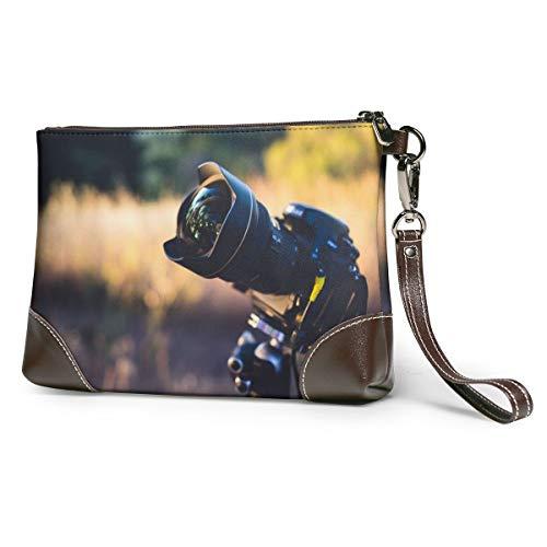 Echt lederen portemonnees voor vrouwen Rits Rond Polsband Lange portemonnee Vintage Embossing Koeienhuid Koppeling Camera Lens Nikon DSLR fotografie