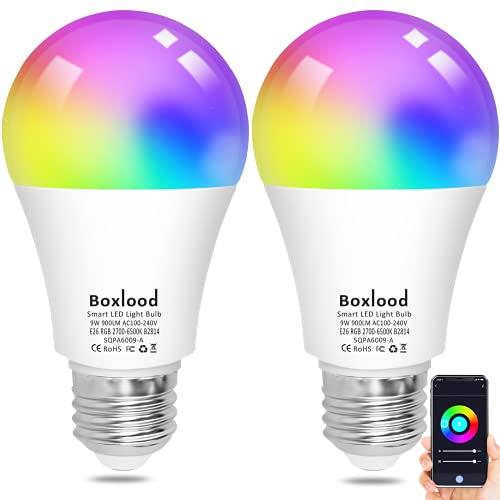 Smart Light Bulbs, Boxlood WiFi Smart Bulbs That Work with Alexa Echo Google Home Siri