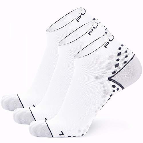 Pure Athlete Ultra-Comfortable Running Socks - Anti-Blister Dot Technology, Moisture Wicking (White/Black - 3 Pack, L/XL)