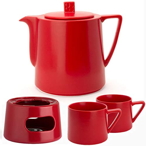 Bredemeijer Keramik Teekanne Set rot 1,5 Liter mit Tee-Filter-Sieb Edelstahl mit Stövchen und Teebecher (2 Tassen) rot
