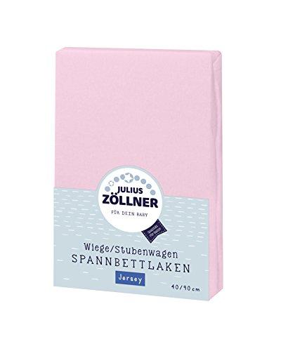 Julius Zöllner Jersey Spannbettlaken für Wiegen 90x40cm und Stubenwagen, 100% Baumwolle, STANDARD 100 by OEKO-TEX, rosa