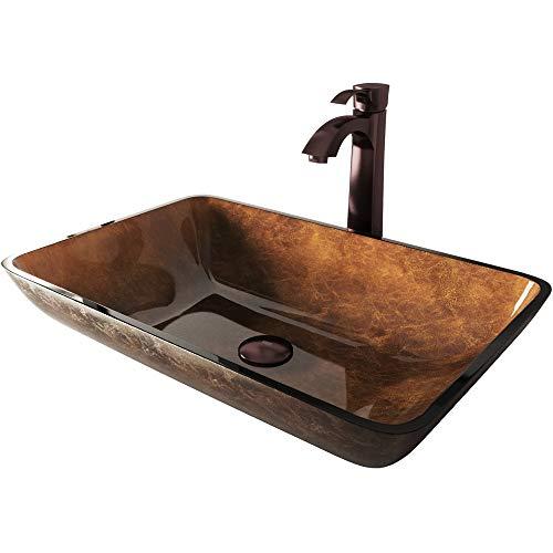 VIGO Rectangular Russet Glass Vessel Bathroom Sink and Otis Vessel Faucet with Pop Up, Oil Rubbed Bronze