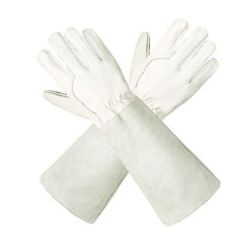 Gartenhandschuhe aus Leder für Damen und Herren – Isilila atmungsaktive Rosen-Handschuhe mit Dornschutzhandschuh, Lange Rindslederärmel, Gartenarbeitshandschuhe für Gärtner und Bauern, weiß