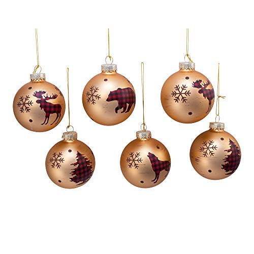 Kurt S. Adler Kurt Adler 80MM Plaid Animal and Trees Glass Ball, 6 Piece Box Ornament, Gold, red, Black