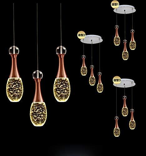LED Kristall Pendelleuchte - Parfüm Flaschenform Design mit Blasen - Wohnzimmer Schlafzimmer Lampe - Romantisch Hängeleuchte - Deko Decke Kronleuchter - Hängelampe (Warm Licht, Rund 3 flammig)