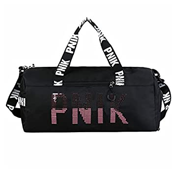PNIK GYM BAG Travel Duffel Bag Large Lightweight Sports Duffel Bags,Swimming Bag Gym Bag with Waterproof Shoe Compartment Weekend Travel Bag with a Water-resistant Insulated Pocket Black