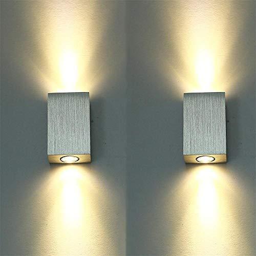 HGCF Lámpara de Pared Moderna 6W Luz de Pared Interior Luz de Pasillo Arriba Aplique de Pared Plata Cepillado para Dormitorio Pasillo Sala de Estar Escaleras KTV