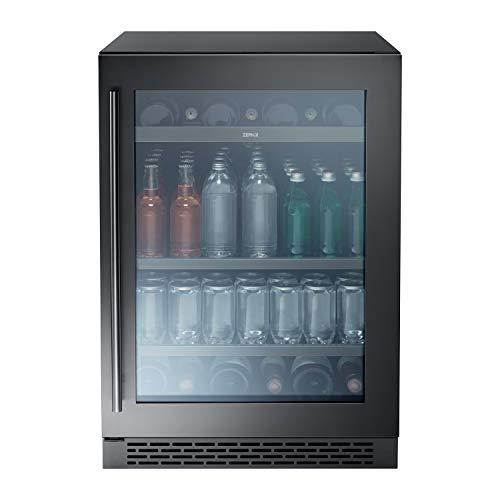 Zephyr Presrv Single Zone Beverage Cooler with Glass Door. 24 Inch 5.6 cu. ft. Refrigerator for Under Counter, Wine Fridge, Beer Fridge, Compact Bar Fridge, Full Size Beverage Center, Reversible Door