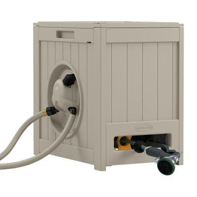 Suncast RSH125 125 ft. of 5/8 in. Hose Capacity Aquawinder Auto Rewind Hose Reel, Hands-Free Rewinding At A Flip Of A Lever, 2 Garden Stakes Included