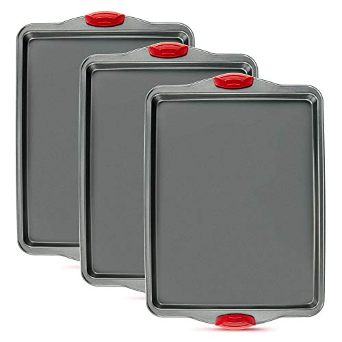 3 PCS Non-Stick Baking Sheet Pan by Boxiki Kitchen. Non-Toxic and Rimmed Carbon Steel Baking Sheet. Dent, Warp and Rust Resistant. Heavy Gauge Steel Oven Baking Sheet. 3 Trays.
