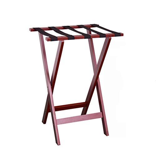LDM Roof Rack Luggage Rack Bracket for Hotel, Folding Luggage Rack Solid Wood Shelf Display Rack (Color: Wine Red)