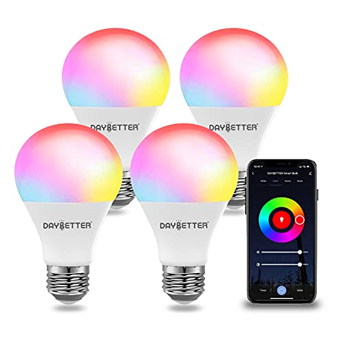 DAYBETTER Smart Light Bulbs, RGBW Wi-Fi Color Changing Led Bulbs Compatible with Alexa & Google Home Assistant, A19 E26 9W 800LM Multicolor Led Light Bulb, No Hub Required, Light Bulbs 4 Pack
