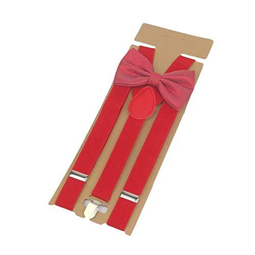 DYDONGWL Suspenders/Bow Tie Suspenders Broek Vrouwen 3 Clip Bowtie Roze Braces Vrije tijd Button Bow Tie Set Rood Ligas 110cm