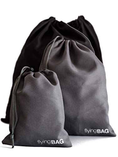 PREMAROS® flyingBAG Premium Packbeutel-Set 4-teilig, Koffer Organizer in 3 verschiedenen Größen, Packsack mit Kordelzug, schwarz grau