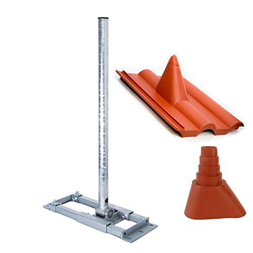 PremiumX Deluxe X130-48 Dachsparrenhalter 130cm Mast Sparren-Halterung für Satelliten-Antenne SAT-Schüssel Dach Halter mit Kabeldurchführung Frankfurter Pfanne Dach-Abdeckung Manschette rot