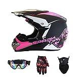 Motorradhelm, Motocross Rennhelm Fahrradhelm Vier Jahreszeiten universal (Handschuhe, Brille, Maske,...