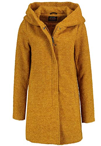 Sublevel Damen Winter-Mantel mit Kapuze aus Woll-Mix Yellow L