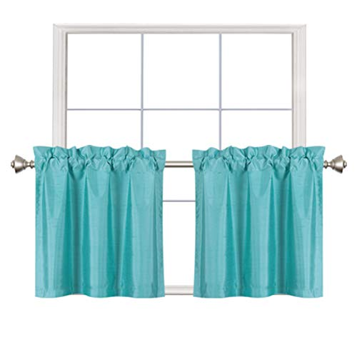 Home Queen Faux Silk Rod Pocket Tier Curtains for Small Window, Short Room Darkening Kitchen Curtains, Cafe Drapes, 2 Panels, 30 W X 24 L Inch Each, Solid Aqua