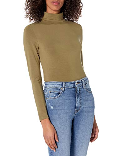 The Drop Phoebe Camiseta entallada de manga larga de cuello cisne para Mujer
