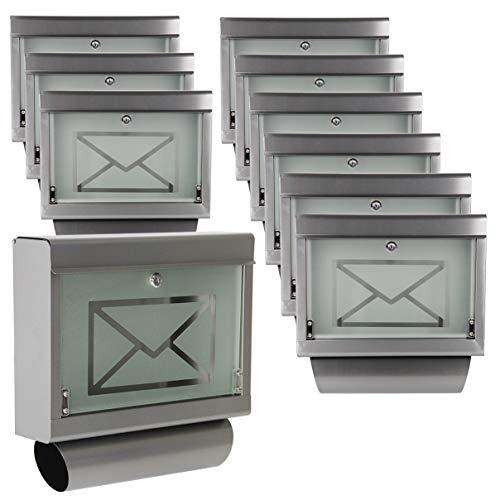 Helo 10 x Briefkasten inkl. Zeitungsrolle aus Edelstahl mit Glasfront P1