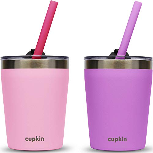 Cupkin Stackable Stainless Steel Toddler Cups for Kids - Set of 2 Powder Coated 8.5 oz Vacuum Insulated Tumblers, 2 BPA Free Lids + 2 Reusable Silicone Straws for Toddlers (Pink + Purple)