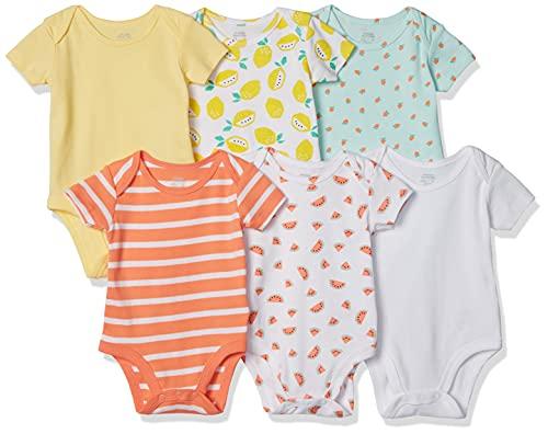 Amazon Essentials Baby Infant 6-Pack Short-Sleeve Bodysuit, Girl Fruit, 3-6M