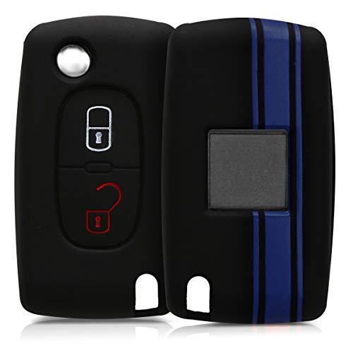 kwmobile Funda Compatible con Peugeot Citroen Llave de Coche Plegable de 2 Botones - Carcasa Protectora Suave de Silicona - Rally