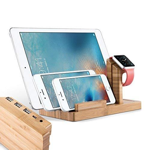 Cadorabo Docking Station - laadstation van echt bamboe hout - Power Station platform met geïntegreerde USB multiinterface voor alle smartphones en smartwatches van bijv. Apple, Samsung, Nokia