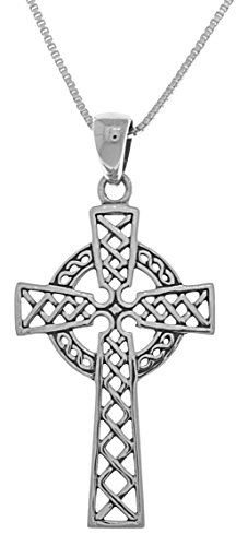 Jewelry Trends Irish Celtic Cross Religious Sterling Silver Pendant Necklace 18'