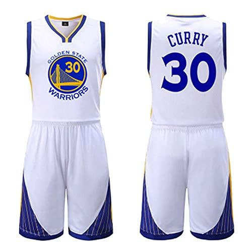 THZCMY Niños Niños Niñas Hombres Adultos NBA Warriors # 30 Curry, Jersey de Baloncesto de Verano Camiseta de Manga Corta + Pantalones Cortos Conjunto de Ropa