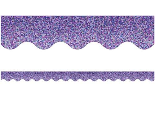 Purple Sparkle Scalloped Border Trim