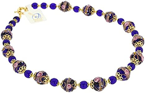 GlassOfVenice - Collar de cristal de Murano Venezia, color azul cobalto