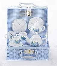 Delton Child's Porcelain Tea Set for 2 in Wicker Basket Hydrangea NEW