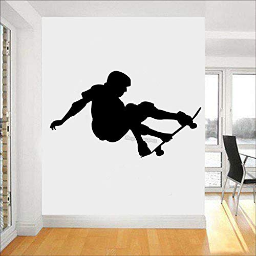 Tianpengyuanshuai Autocollant Mural de Sport Skateboarder Stunt Stunt Flip Jump Skateboard Sticker Mural Art Decal 60X34cm