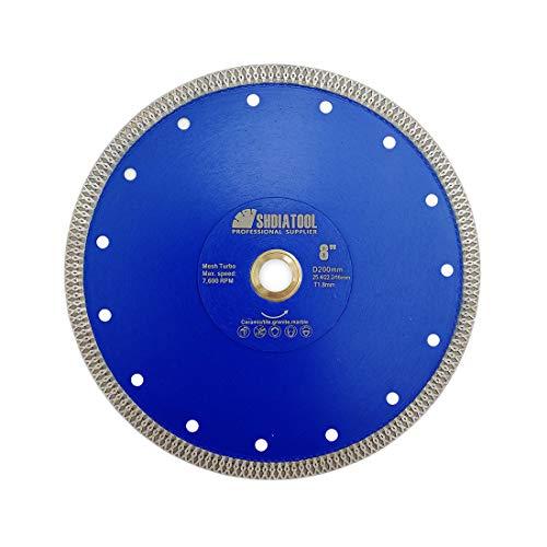 SHDIATOOL Disco Tronzador de Diamante 200mm con X Malla Turbo Hoja de Sierra...