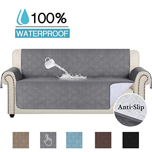 Full Waterproof Oversized Sofa Covers for Leather Couch Furniture Protector Couch Covers for Dogs Sofa Slipcover for Living Room Non Slip Lounge Covers (Sofa Oversize: SeatWidthUpto 78') Grey