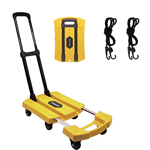 Folding Hand Truck 6 Wheel-roate 200Kg/440lbs Heavy Duty & Break System Solid Construction Utility Dolly Trolley Cart Compact and Lightweight for Luggage/Personal/Travel/Auto/Moving and Office