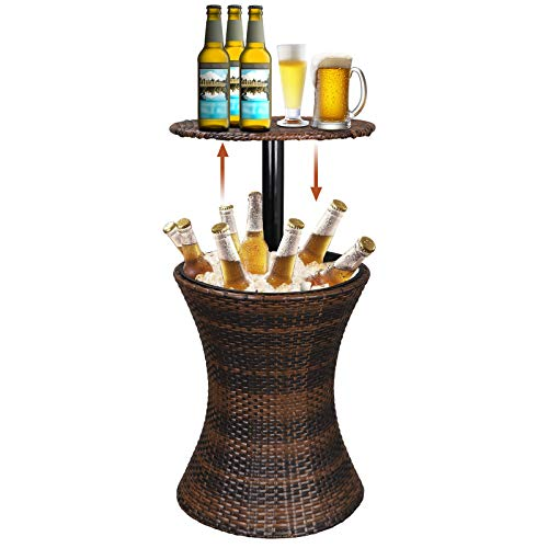 Super Deal 3in1 All-Weather Cool Wicker Bar Table + Ice Bucket + Cocktail Coffee Table All in One, Rattan Style Adjustable Height Patio Party Deck Pool Use, Brown
