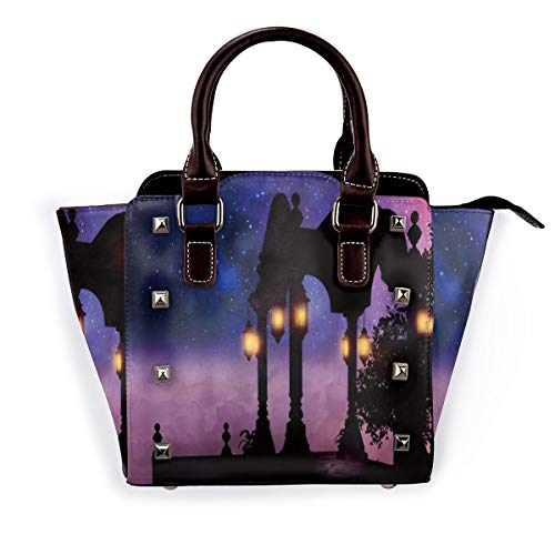 BROWCIN Romantische Pavillon-Aussichtsplattform mit Retro-Lampe, die Fantasy-Wolken-Himmelsnacht leuchtet Abnehmbare mode trend damen handtasche umhängetasche umhängetasche