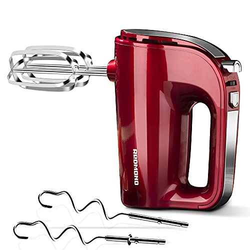 REDMOND Hand Mixer Electric, 250W 5-Speed Hand Mixer, Includes Stainless Steel Beaters and Dough Hooks with Turbo, Easy Eject Button (RED)