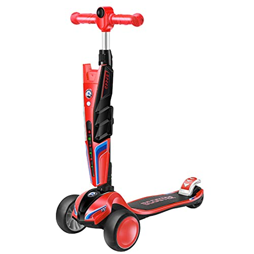 LINQ Scooter-Scooter Infantil, neumáticos ensanchados de 50 mm, hasta 5 Engranajes Ajustables, Colorido Flash música Bicicleta