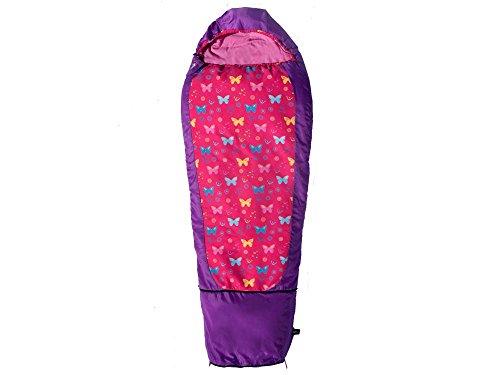 Grüezi-Bag Kids Grow Butterfly, Reißverschluss Links, 140-180x65 cm, Kinderschlafsack, Fußbereich 45cm, ca. 1290g, in Purple