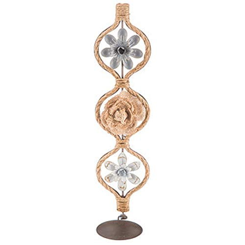 """Country Style Wall Sconce Candle and Fragrance Plate Holder I Metal Wall Frame Flower Burlap 16"""" L x 4"""" W"""