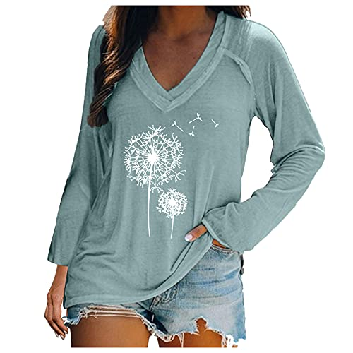 ZYAPCNGN Women's Autumn Top V-Neck Long Sleeve Casual Top Floral Print Long Sleeve T-Shirt Solid Color Pullover Mint Green