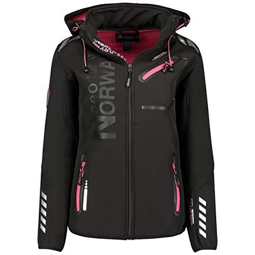 GEO NORWAY REINE LADY - Wasserdichte Softshell-Jacke für Damen - Warme Kapuzenjacke für draußen - Funktionsjacke Windbreaker-Zip-Jacke - Outdoor-Aktivitäten Wandernschwarz/rosa - M